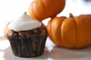 Spiced Pecan Sweet Potato Cupcakes