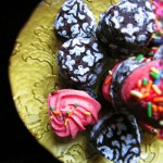 Fudgy Brownie Bites with Strawberry Frosting